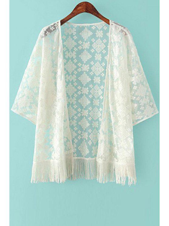 Broderie Tassels 3/4 Sleeve Kimono - RAL1001Beige S