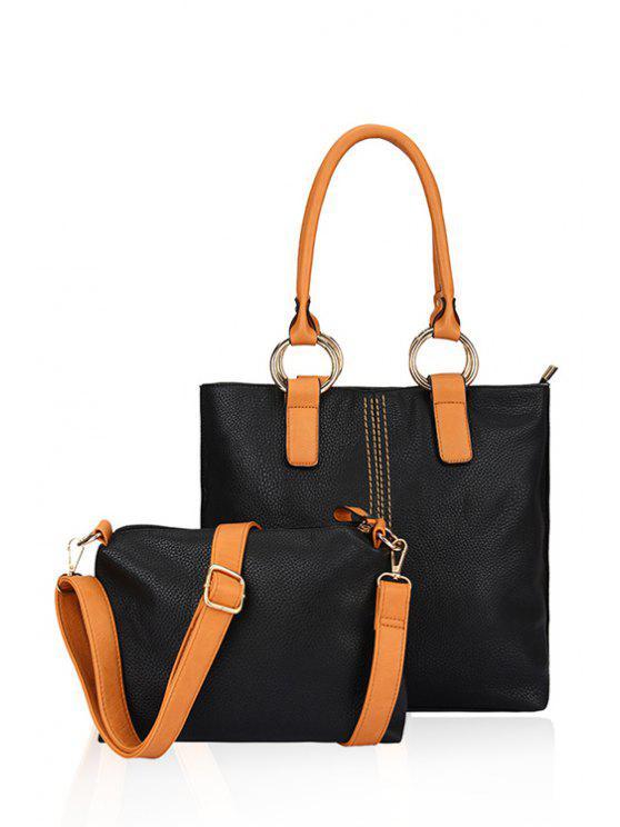shop Color Block Rhings Shoulder Bag - BLACK