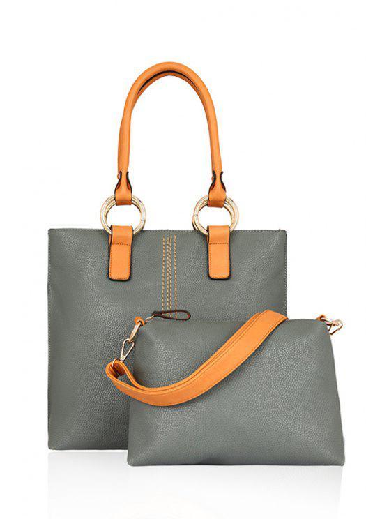 latest Color Block Rhings Shoulder Bag - GRAY