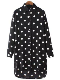 Polka Dot Chiffon Long Sleeve Shirt - Black