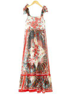Floral Lace-Up Straps Maxi Dress - Red M