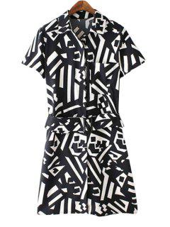 Turn-Down Collar Color Block Geometric Print Dress - White And Black L