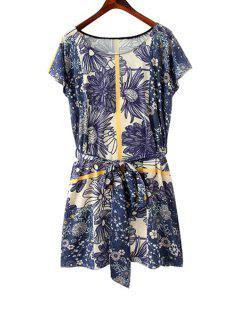 Floral Print Tie-Up Short Sleeve Dress - Blue S