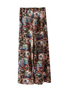 Floral Print Loose-Fitting Pants - L