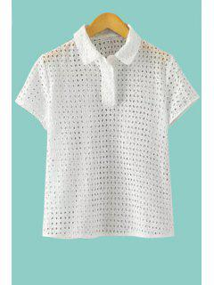 Openwork Solid Color Short Sleeve Shirt - White L