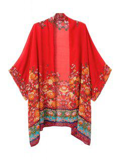 Color Block Yellow Floral Print Coat - Red L