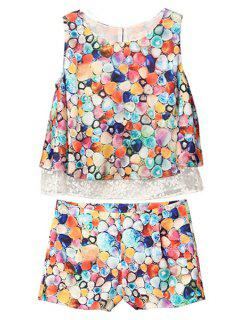 Colorful Polka Dot Lace Splicing Tank Top + Shorts - L