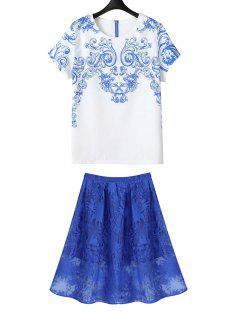 Blue Print Short Sleeve T-Shirt + Solid Color Skirt - Blue And White M