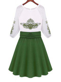 Green Print Color Block 3/4 Sleeve Dress - White And Green L