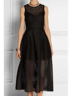 Striped Solid Color Hollow Sundress - Black M