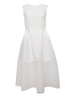 Striped Solid Color Hollow Sundress - White S