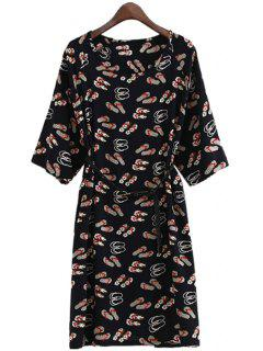 Slippers Print Belt Half Sleeve Dress - Red