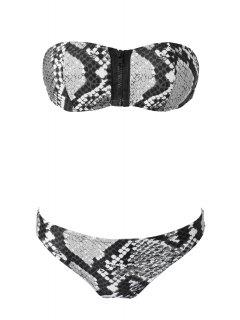 Snake Pattern Strapless Bikini Set - Black And Grey M