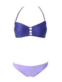 Openwork Bandage Bikini Set - Purple M