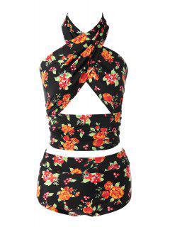 Floral High Waisted Bikini Set - 06# M