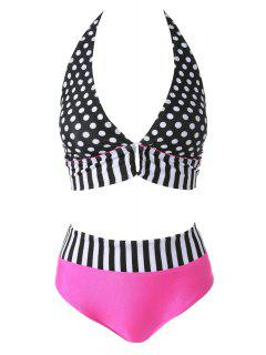 Polka Dot Striped Halter Bikini Set - Black And White And Red S