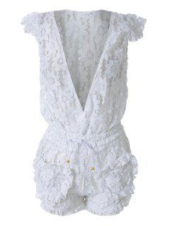 White Lace Plunging Neck Rompers - White L