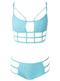 Solid Color Openwork Bikini - Cyan L