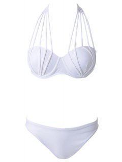 Halter Neck Solid Color Tie-Up Bikini - White L