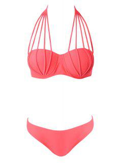 Halter Neck Solid Color Tie-Up Bikini - Pink S