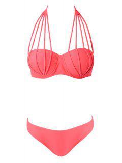 Halter Neck Solid Color Tie-Up Bikini - Pink L