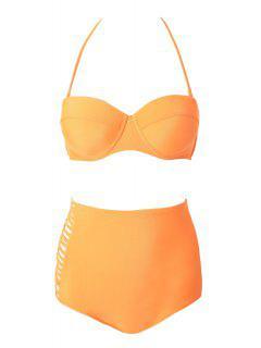 Strapless Solid Color Bikini Set - Orange Xl