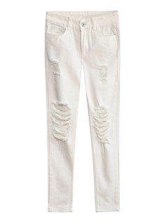White Broken Hole Narrow Feet Jeans - White L
