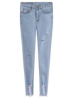 Solid Color Broken Hole Skinny Jeans - Light Blue M