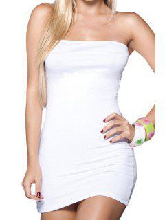 Vestido Sin Tirantes De Color Sólido - Blanco S