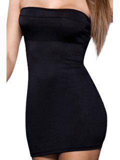 Vestido Sin Tirantes De Color Sólido - Negro S