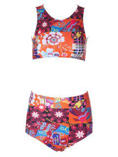 Flower Print High Waisted Bikini Set - Xl