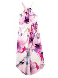 Floral Print Asymmetrical Back Zipper Dress - Purple S