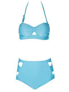 Solid Color High Waisted Bikini Set - Lake Blue S