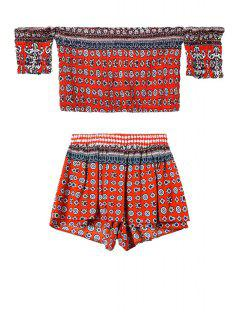 Ethnic Print Crop Top And Shorts Suit - Red S