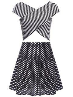 Stripe Cross Tank Top + Polka Dot Skirt - Black 2xl