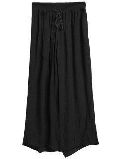 Solid Color Drawstring Wide Leg Pants - Black