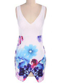 Floral Spliced Plunging Neck Dress - Blue And White M