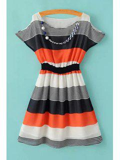 Stripe Color Block Elastic Waist Dress - Orange M