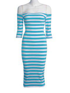 Stripe Half Sleeve Dress - Azure Xl