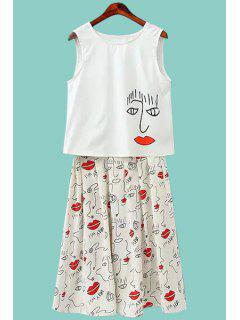 Red Lip Print Tank Top And A-Line Skirt Suit - Red With White L