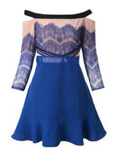 Slash Neck Lace Splicing Flounce Dress - Blue L