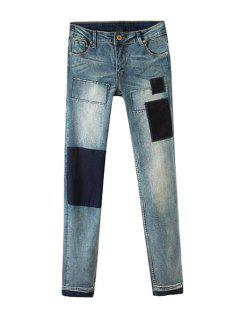 Applique Splicing Zipper Fly Jeans - Blue Gray 29