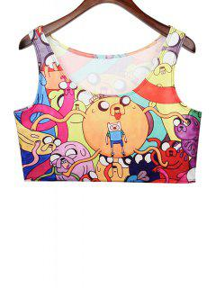 Colorful Cartoon Print Sleeveless Crop Top - Red