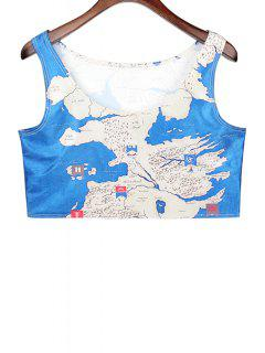 Map Print Sleeveless Crop Top - Blue And White
