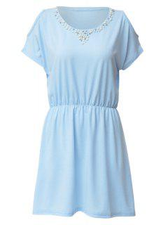 Faux Pearl Bead Off-The-Shoulder Dress - Azure Xl