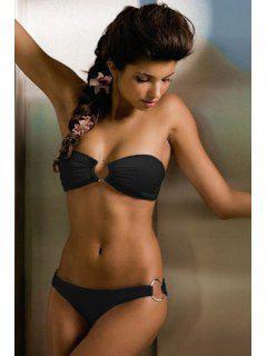 Solide Couleur Splicing Bikini - Noir L