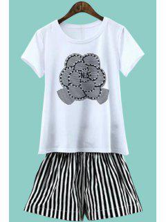 Print Short Sleeve T-Shirt And Striped Shorts Suit - White And Black Xl