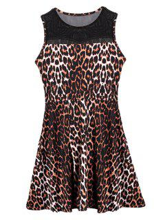 Jewel Neck Leopard Pattern Dress - Deep Brown M
