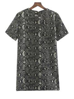Snake Pattern Short Sleeve Dress - Black Xl