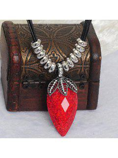 Chic Faux Crystal Decorated Strawberry Shape Necklace For Women - Red